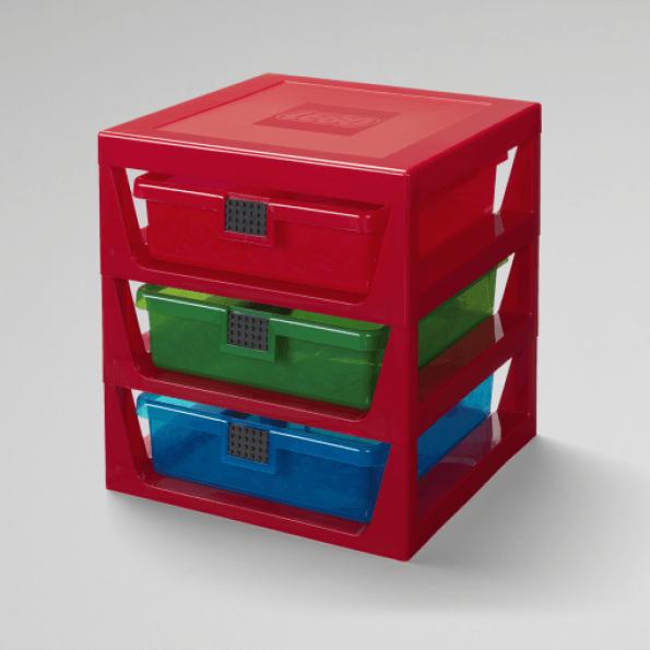 LEGO Förvaring med 3 lådor - Röd