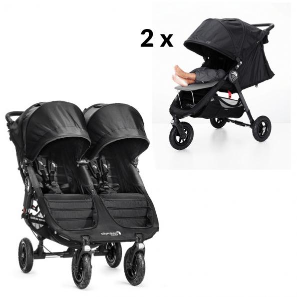 Baby Jogger City Mini GT dubbel inkl 2 x fotstöd - svart