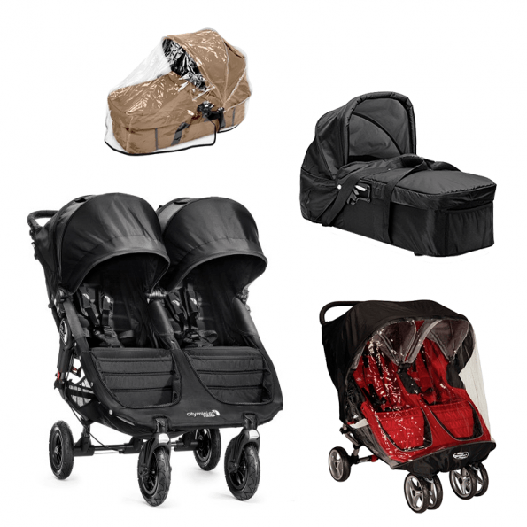 Baby Jogger City Mini GT Double Syskonvagn, Kompakt Pram Liggdel, Regnskydd till Pram & Regnskydd