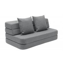 BY KLIPKLAP KK 3 fold soffa - blå grå med grå knappar