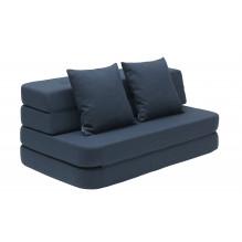 BY KLIPKLAP KK 3 fold soffa - mörkblå med svarta knappar