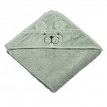 Tiny Republic handduk med huva & bäver Theo - Ljusgrön