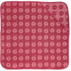 Småfolk babyhandduk med äpplen - havsrosa