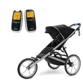 Thule Glide 2 Jet Black Joggingvagn + Neonate 5800 Babyvakt