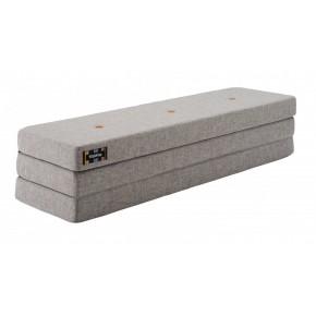 ByKlipKlap Multifunktionell 3 Fold XL Madrass - Grå med Orange Knapp