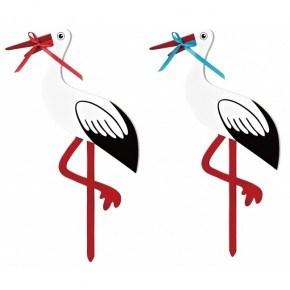 Magni Stork I Trä Stor 80 cm - Svart/Vit