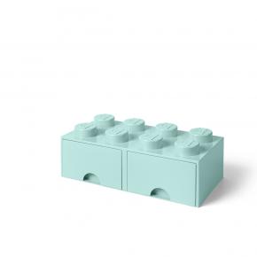 LEGO Förvaring 8 med 2 Lådor - Aqua Ljusblå