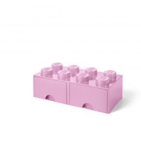 LEGO Förvaring 8 med 2 Lådor - Rosa