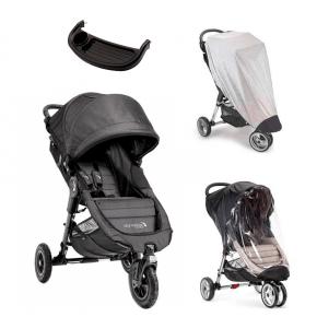 Baby Jogger City Mini GT Charcoal Denim Sittvagn + Regnskydd, Insektsnät & Brickbord