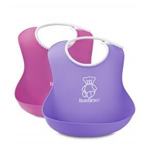 BabyBjörn 2-Pack Mjuk Haklapp - Lila/Rosa