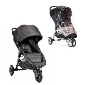 Baby Jogger City Mini GT Charcoal Denim Sittvagn + Regnskydd