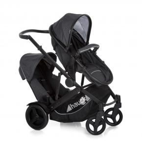 HAUCKVälj Duett 3 syskon barnvagn - svart