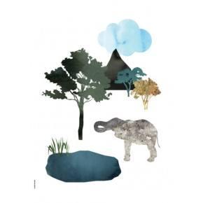 I LOVE MY TYPE Elefant Plakat A5 - Vit