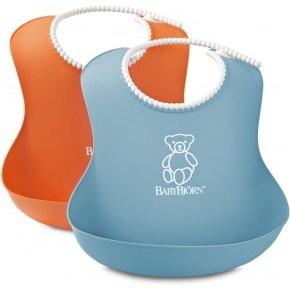 BabyBjörn 2-Pack Mjuk Haklapp - Orange/Blå