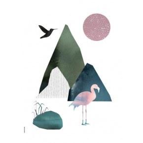 I LOVE MY TYPE Flamingo Plakat A5 - Vit