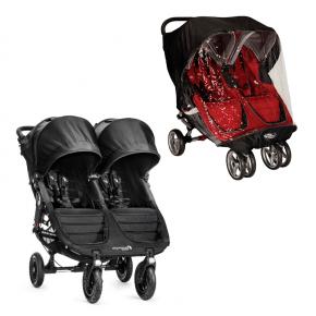 Baby Jogger City Mini GT Double Syskonvagn + Regnskydd - Svart