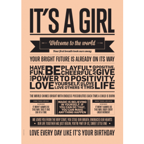 I LOVE MY TYPE It's a Girl Plakat A5 - Peach
