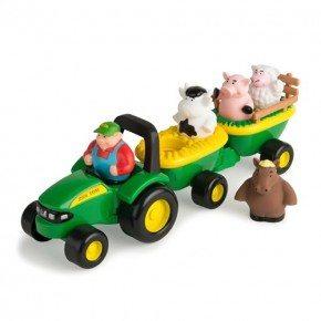 John Deere Traktor Set Med Djur - Grön