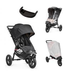 Baby Jogger City Elite Sittvagn, Regnskydd, Insektsnät & Brickbord - Svart