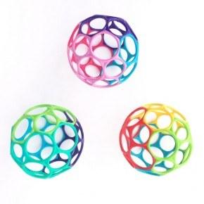 Oball Classic Babyleksak 3-pack - Rosa, lila & blå