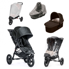 Baby Jogger City Elite Titanium Sittvagn + Charcoal Denim Deluxe Pram Liggdel, Regnskydd till Pram, Regnskydd & Insektsnät