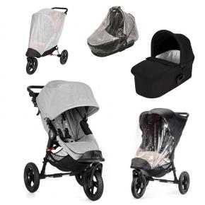 Baby Jogger City Elite Slate Sittvagn + Svart Deluxe Pram Liggdel, Regnskydd till Pram, Regnskydd & Insektsnät