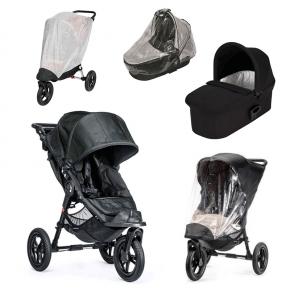 Baby Jogger City Elite Titanium Sittvagn + Svart Deluxe Pram Liggdel, Regnskydd till Pram, Regnskydd & Insektsnät