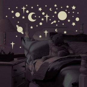 Roommates Wall Sticker - Sol, Måne och Stjärnor (Självlysande)