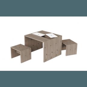 Flexa - Bord Med Förvaring + Pallar - Mörkbrun