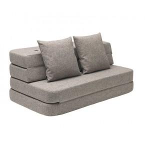 BY KLIPKLAP KK 3 Fold Sofa XL - grå med grå knappar